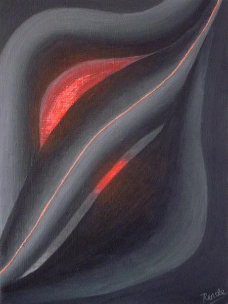 Een van Renske Cramers schilderijen: Assimilatiemodel (2015). (Acryl op doek, 30 x 40 cm.)