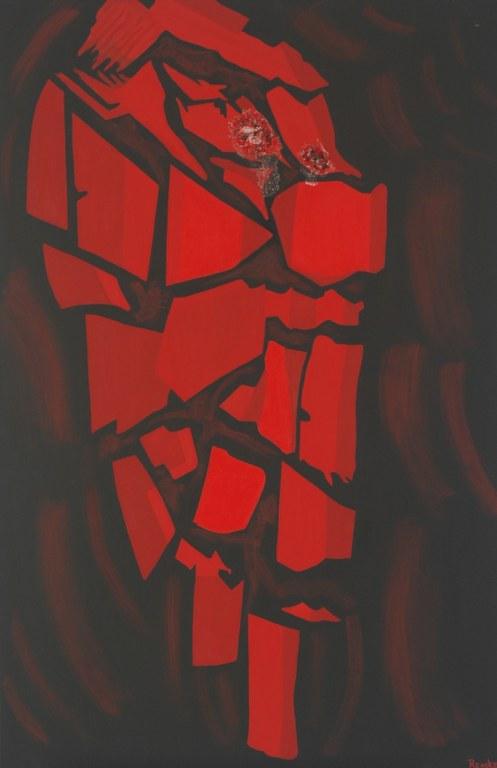 Een van Renske Cramers abstracte schilderijen: genaamd Ingesloten