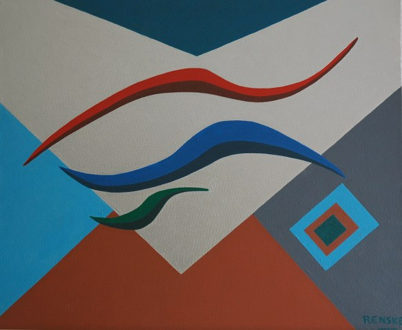 Een van Renske Cramers schilderijen: Drie gedachten. (Acryl op doek, 50 x 60 cm.)