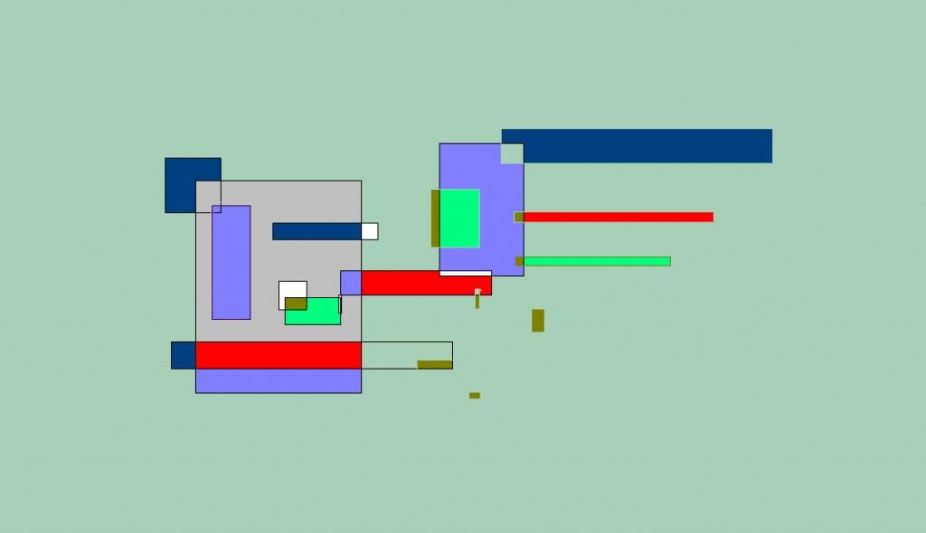 Een van Renske Cramers schilderijen: Een evenwicht (2006). (Digitaal werkstuk.)