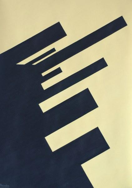 Een van Renske Cramers schilderijen: Antwoord (2004). (Acryl op karton, 70 x 50 cm.)