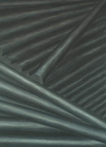 Een van Renske Cramers schilderijen: Beschaving (2011). (Acryl op doek, 50 x 70 cm.)