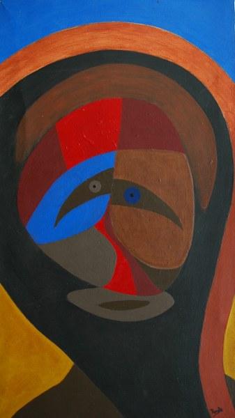 Een van Renske Cramers schilderijen: Binnen (2008). (Acryl op karton, 30 x 54 cm.)