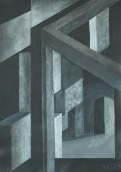 Een van Renske Cramers schilderijen: De verspanende technieken van de geest (2010). (Acryl op papier, 60 x 42 cm.)