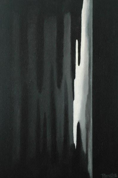Een van Renske Cramers schilderijen: Eerste witte update (2011). (Acryl op board, 60 x 40 cm.)