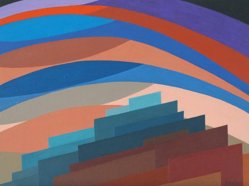 Een van Renske Cramers schilderijen: Hindergrond, onder hemelhijgen (2011). (Acryl op board, 40 x 53 cm.)