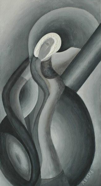 Een van Renske Cramers schilderijen: Ma dame des neiges (2013). (Acryl op karton, 40 x 22 cm.)
