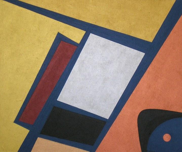 Een van Renske Cramers schilderijen: Metallifoor (2007). (Acryl op doek, 50 x 60 cm.) Op deze foto is het niet zo goed te zien, maar dit schilderij bevat onder meer vijf verschillende metallische tinten.