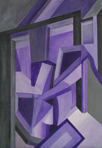 Een van Renske Cramers schilderijen: Onder architectuur (2013). (Acryl op karton, 36 x 52 cm.)