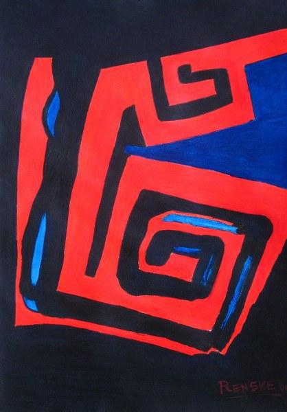Een van Renske Cramers schilderijen: Randen van een relatie (2004). (Acryl op papier, 30 x 42 cm.)