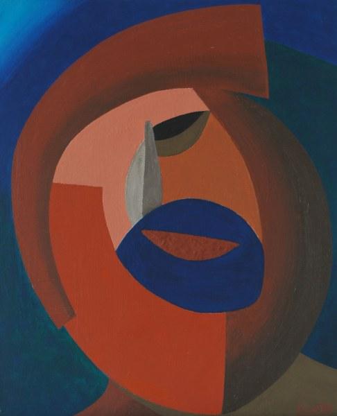 Een van Renske Cramers schilderijen: Stereotype (2011). (Acryl op doek, 40 x 50 cm.)