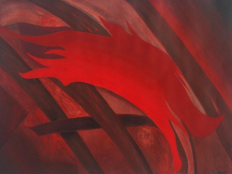 Een van Renske Cramers schilderijen: Zo zal het gaan (2012). (Acryl op papier, 72 x 55 cm.)