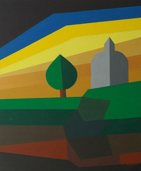 Een van Renske Cramers schilderijen: Zomerlandschap (2007). (Acryl op doek, 50 x 60 cm.)