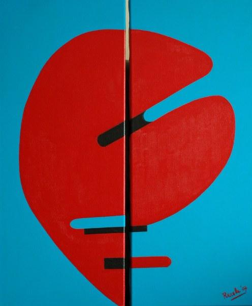 Twee van Renske Cramers schilderijen: Rede, tweedimensionaal (2007). (Tweeluik, acryl op doek, 28 x 68 cm. per stuk.)