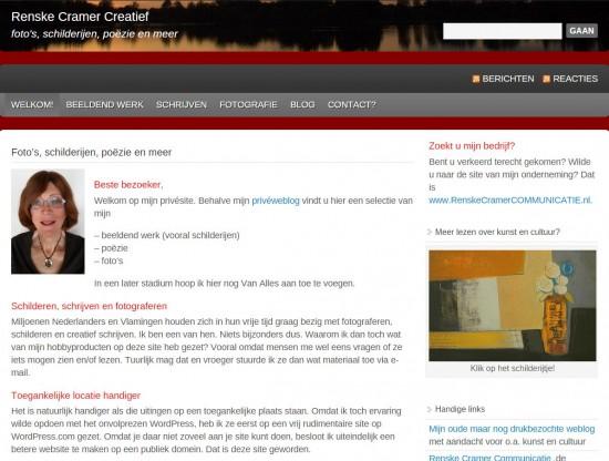 Renske Cramers oude site Creatief: leerzame ervaringen met WordPress.