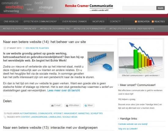 Renske Cramers oude weblog, een van haar goede ervaringen met WordPress
