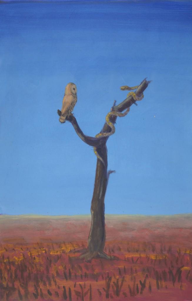 Arie Schippers schilderij Fabel van de uil en de slang.