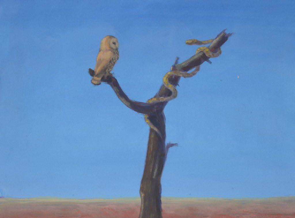 Renske Cramer Creatief artikel Arie Schippers detail van schilderij Fabel uil en slang
