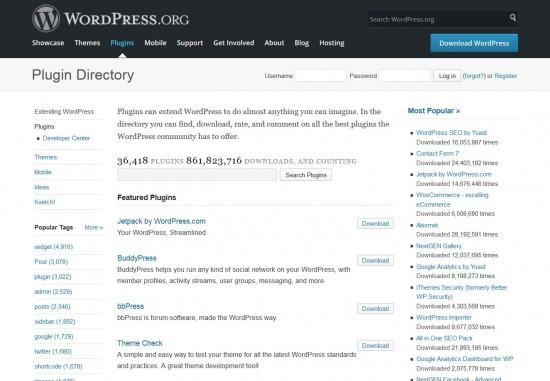 De WordPress plugin directory is een betrouwbare bron voor plugins.