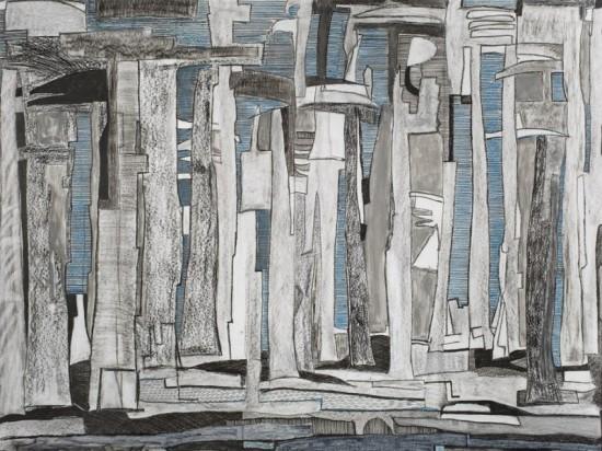Het schilderij 'Het bos' van Serpil Kalak.