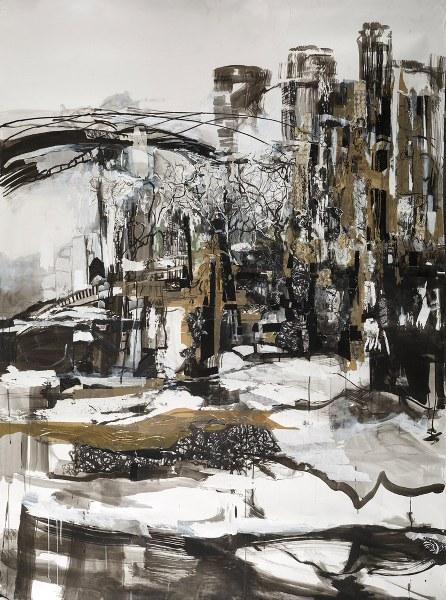 Het schilderij 'Cityscape II' van Iris van Keulen.