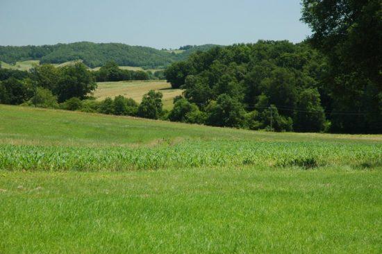 Foto van het landschap in de Gascogne, een Franse streek die nog niet is ontdekt door het internationale massatoerisme.