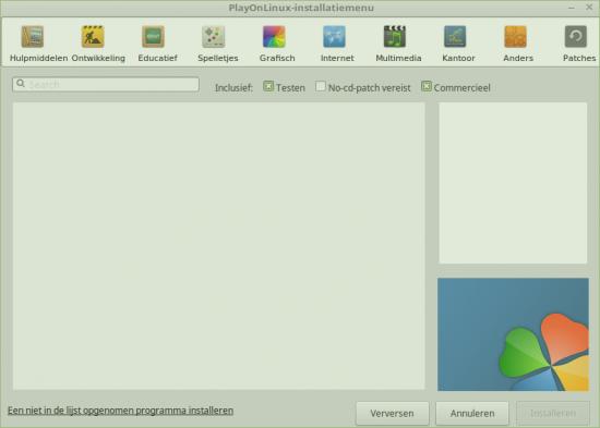 PlayOnLinux is heel gebruiksvriendelijk, blijkt uit deze schermafdruk. Met een paar drukken op de knop installeert u Windowsprogramma's.