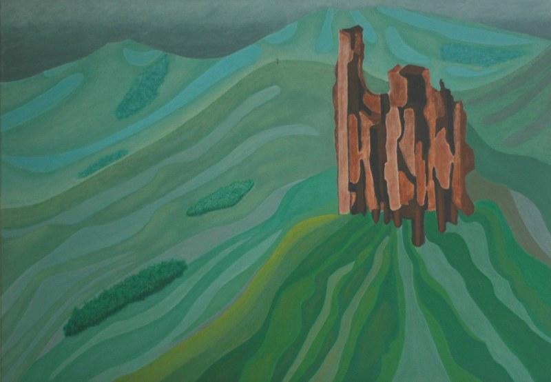 Een van Renske Cramers abstracte schilderijen: Vervormde herinnering 4616 (Murol)
