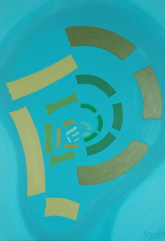 Een van Renske Cramers abstracte schilderijen: Inleiding tot de psychologie: tegenstrijdige gedachten.
