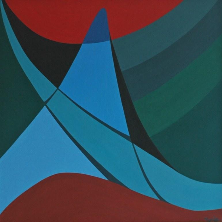Een van Renske Cramers abstracte schilderijen: Meditatiepoging met brug als baken