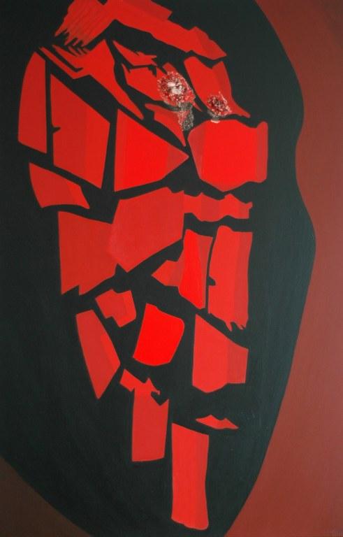 Renske Cramers abstracte schilderij Ingesloten