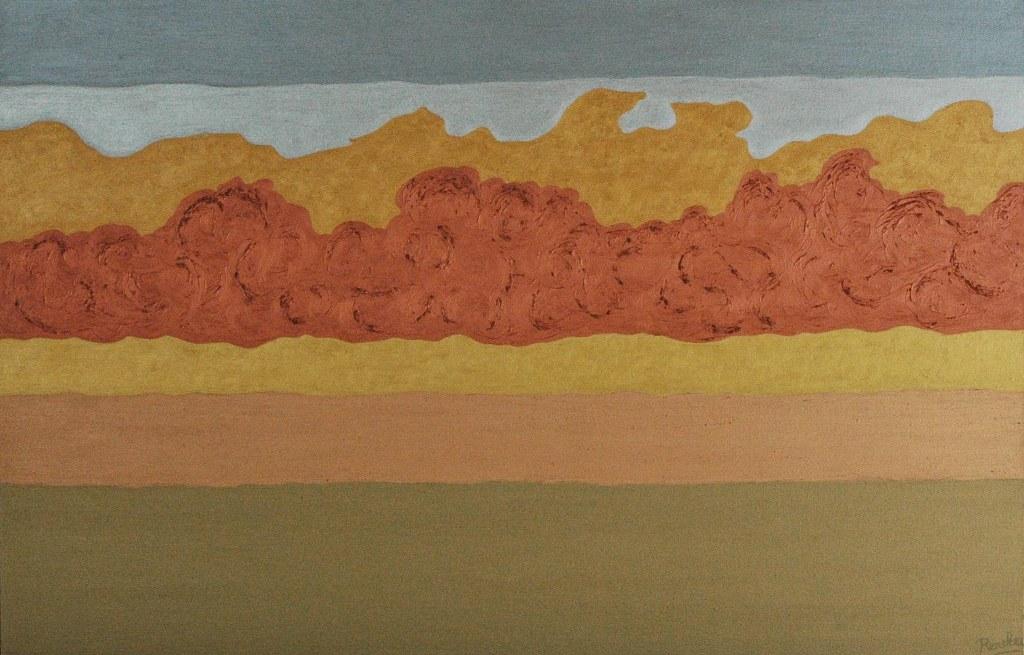 Renske Cramers abstracte schilderij Meditatief moment in 7 tijdlijnen