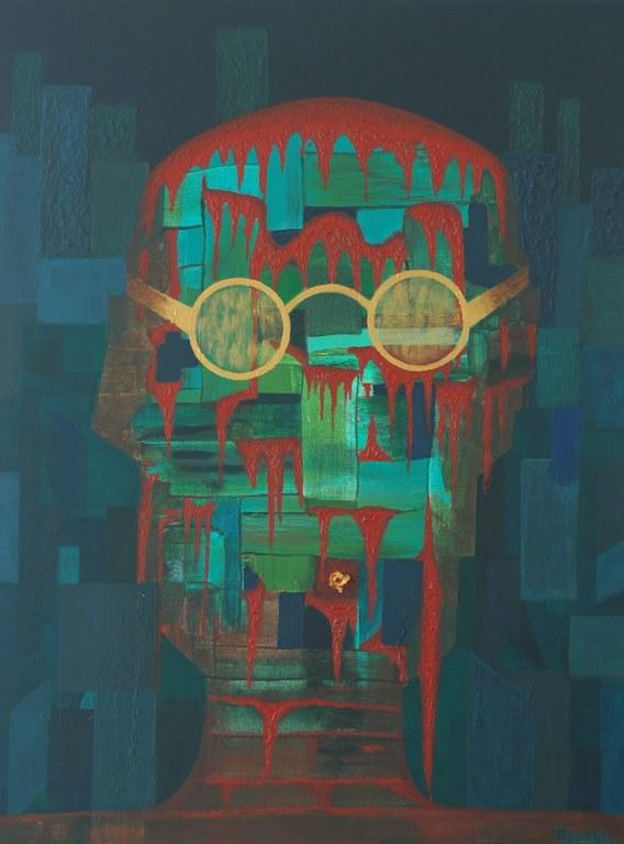 Renske Cramers abstracte schilderij 'Gedenk de homo sapiens'