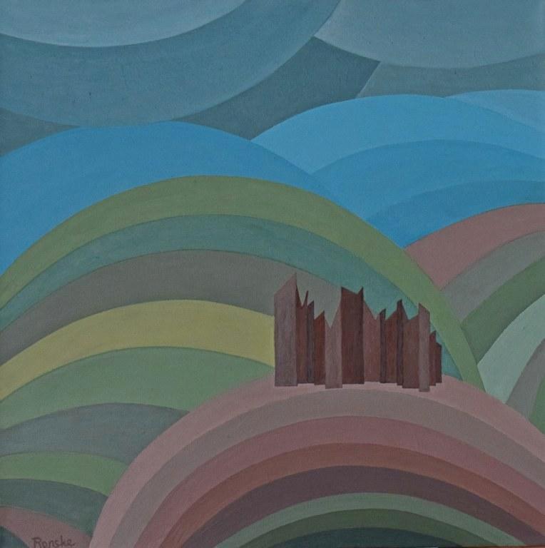 Renske Cramers abstracte schilderij Vervormde herinnering 4616 (Murol)