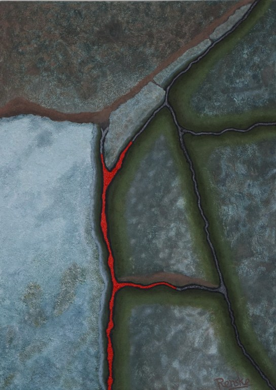 Renske Cramers abstrracte schilderij Rood! (over tijd, vorm en bewustzijn)
